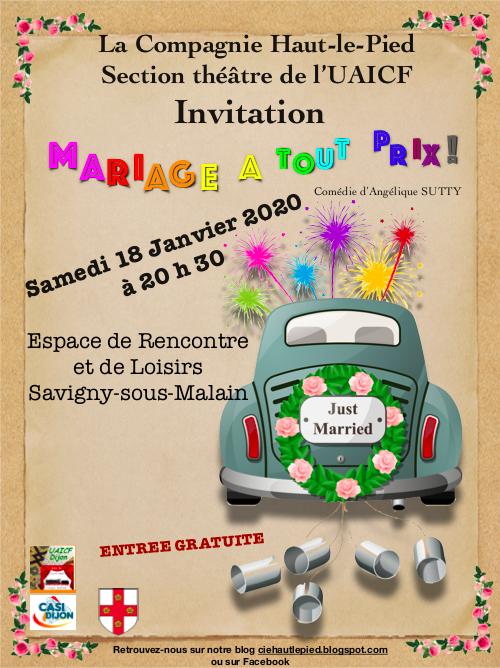 Pièce de théâtre - Mariage à tout prix - Savigny-sous-Mâlain m& 18 janvier 2020